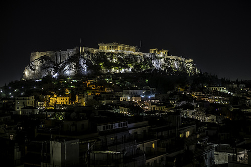 athens at night photo
