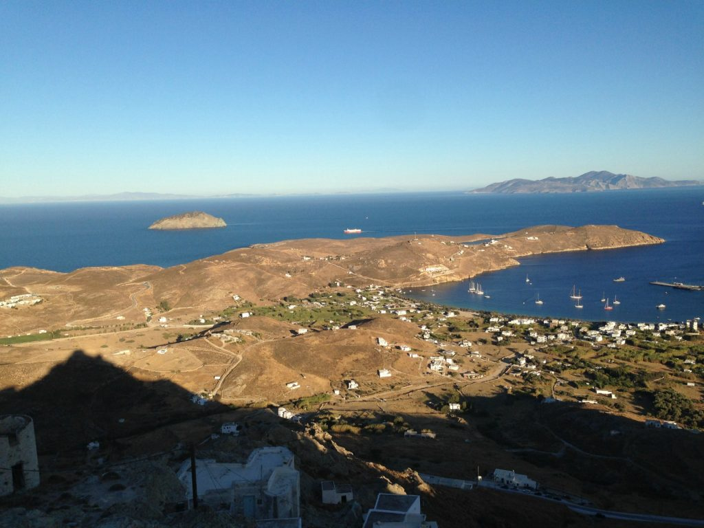 Drive up to the Hora of Serifos with views out across the island