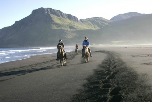 Horse riding along Husey Beach - Iceland Source