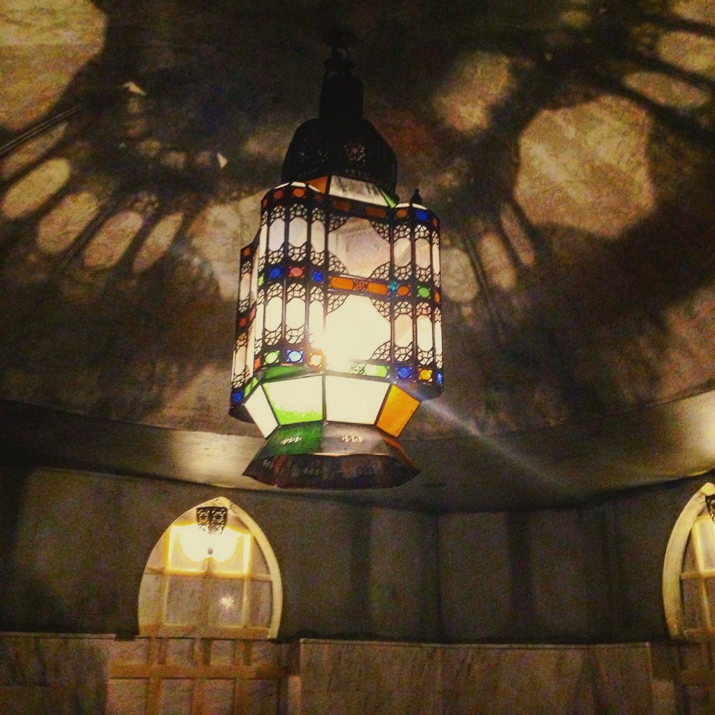 Gorgeous lighting inside the mist room of Al Hammam Turkish Bath - Athens