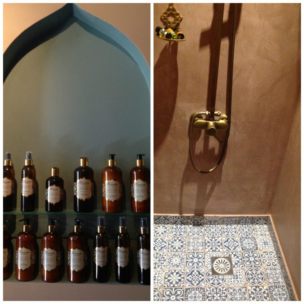 Shower and products available at Al Hammam Turkish Baths, Athens
