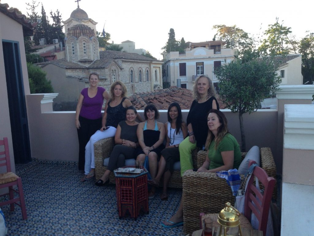 Members of Travel Bloggers Greece relaxing on the roof terrace at the Al Hammam Turkish Baths - Athens