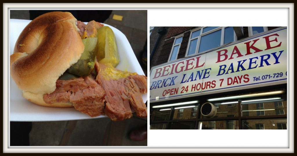 Beigel Bakery with beef and gherkin savoury beigels. Not my favourite, but interesting. Eating London Food Tour. LifeBeyondBorders
