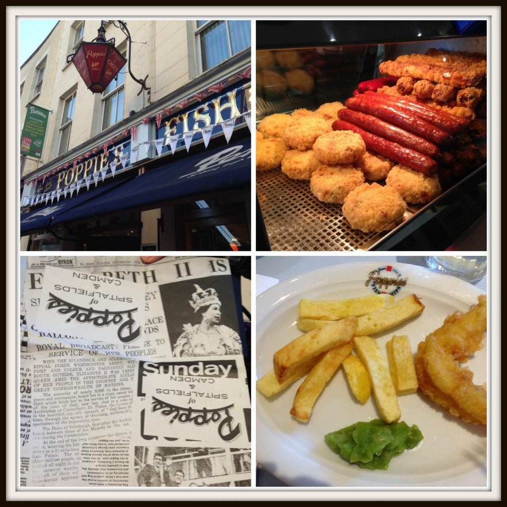 Poppies Award-Winning Fish 'n' Chips: chic of dishes, the famous newspaper wrapping and our cod 'n'chips with mushy peas to taste . Eating London Food Tour - LifeBeyondBorders
