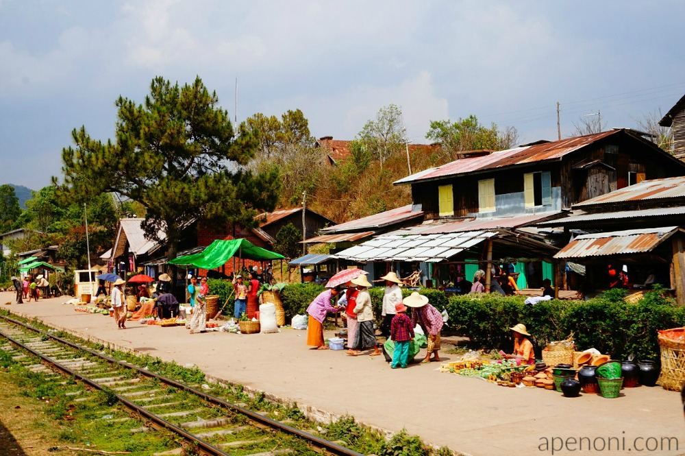 Train Travel Myanmar Trackside Shops Apenoni.com