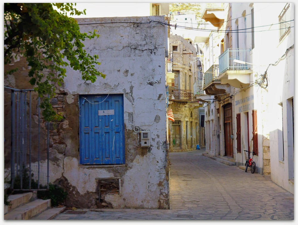 Traditional Greek island street of Kalymnos