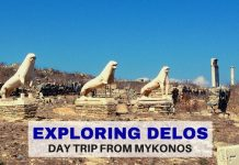Guarding and exploring Delos - a Greek island day trip from Mykonos