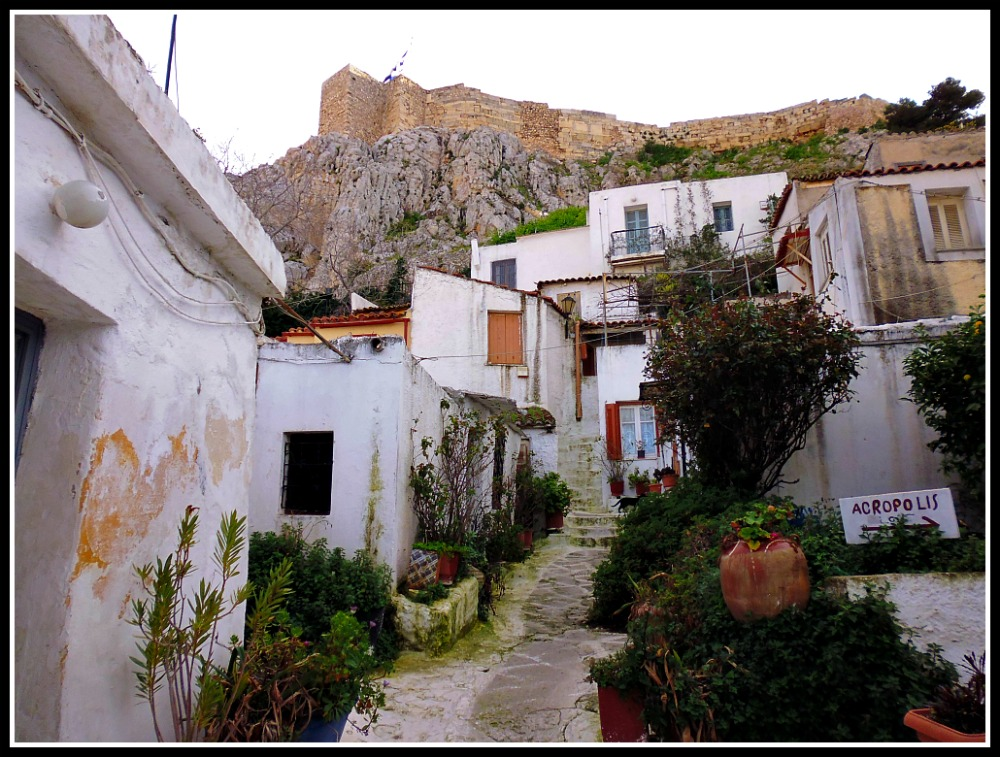 The quaint, island-like neighbourhood of Anafiotika, below the Acropolis in Athens, Greece