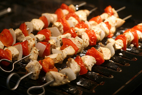 Chicken souvlaki photo