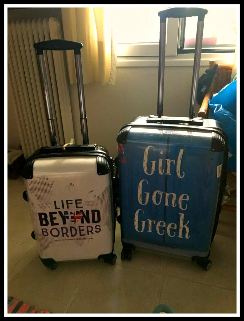 Life Beyond Borders and novel Girl Gone Greek personalised wheelie cabin and hold luggage - good for ensuring your bags aren't taken at the airport - and to stand out