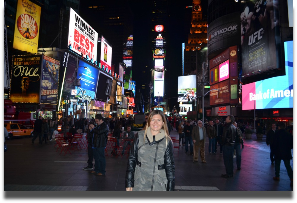 Elena in Times Square, New York. Image © Elena Sergeeva