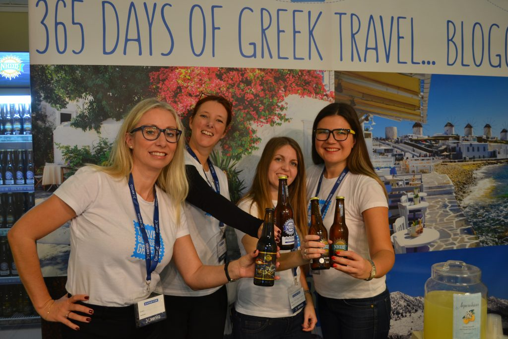 Enjoying the Nissos beer on the Travel Bloggers Greece stand at Xenia 2017