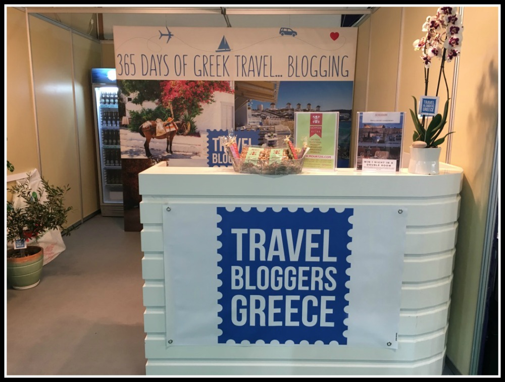 Travel Bloggers Greece Stand at Xenia Expo Tourism Show. Showcasing Greece as a 365 day destination