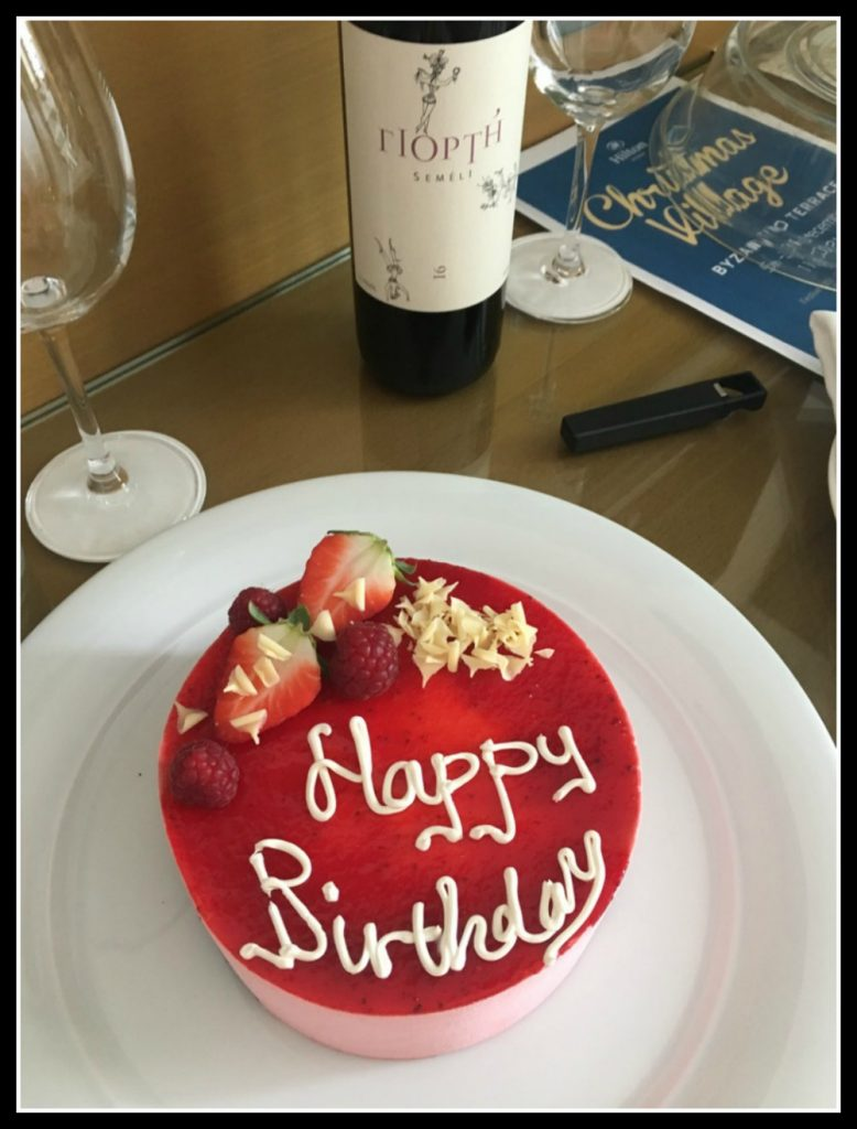 Birthday cake made for me at Hilton Athens - LifeBeyondBorders
