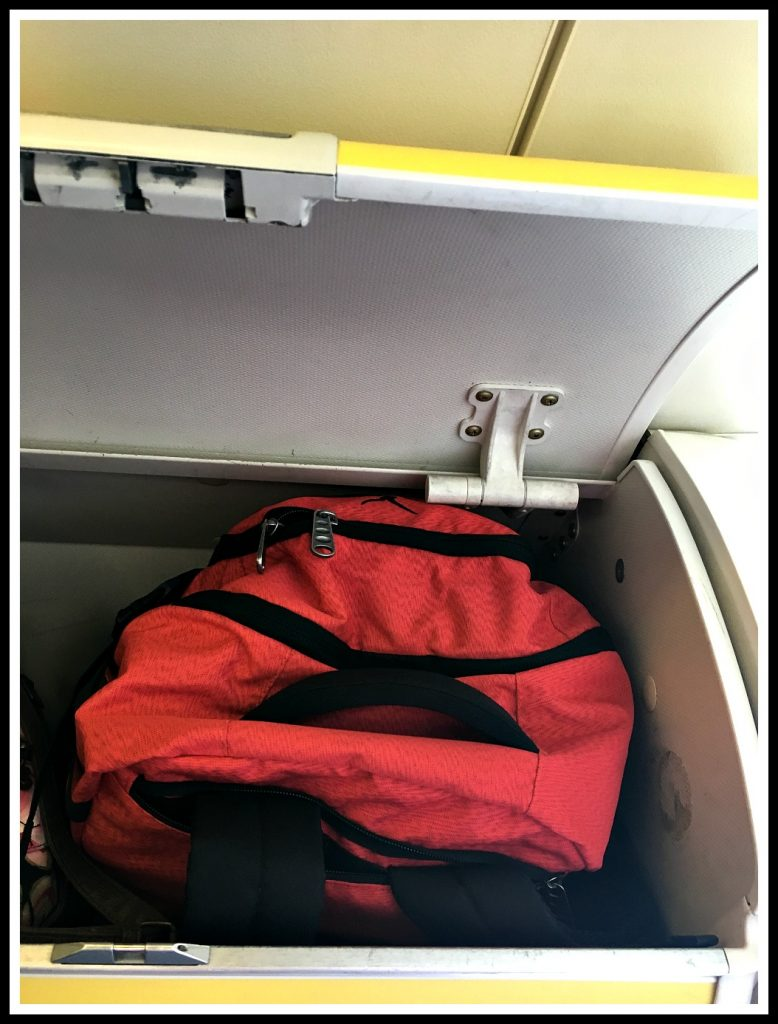Hynes Eagle 40L Backpack fits nicely in RyanAir overhead compartment - LifeBeyondBorders