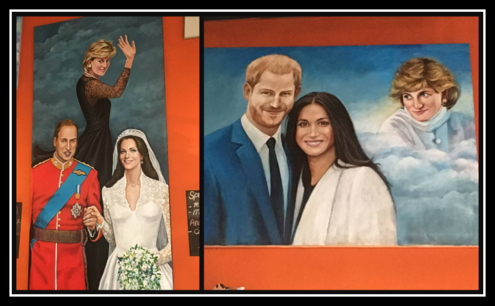 Handpainted Royal Family paintings at Scallywags, The Hague, Netherlands