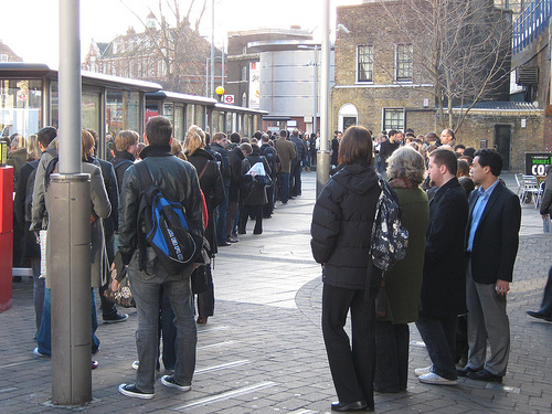 bus stop queue photo